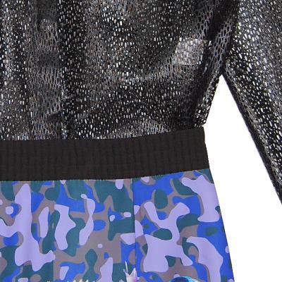 punching net blouse & geometric pattern skirt